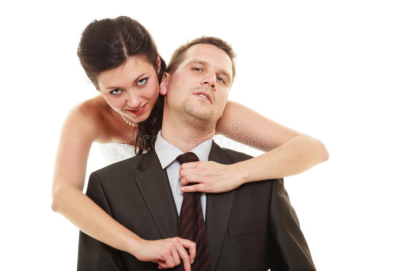 Dominant bride with husband stock photos