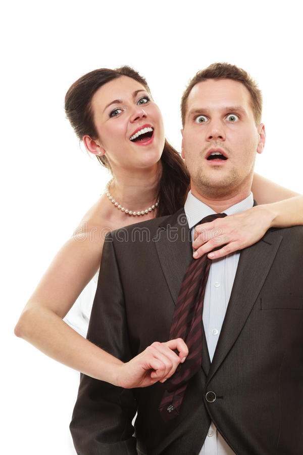 Dominant bride with husband royalty free stock image