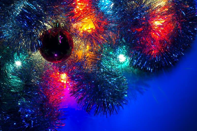 Dominante azul del vario fondo de las luces de la Navidad imagen de archivo libre de regalías
