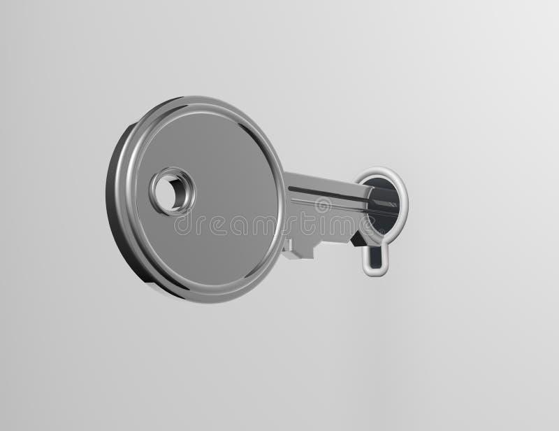 Dominante desbloqueando una cerradura en una superficie en blanco blanca fotografía de archivo