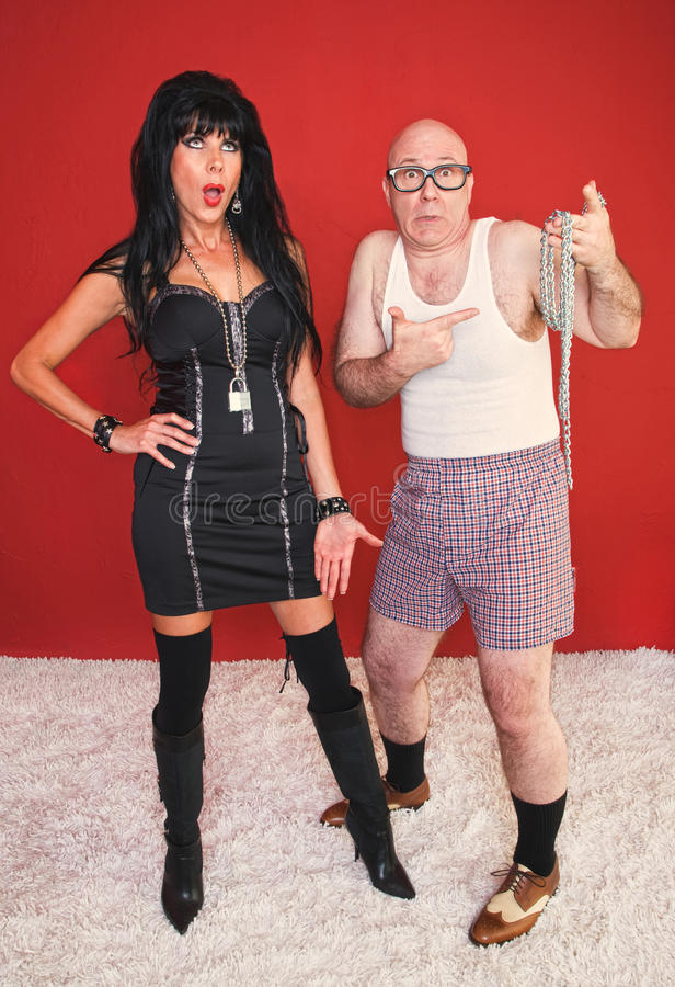 Download Dominatrix Woman And Scared Newcomer Stock Image - Image: 21024171