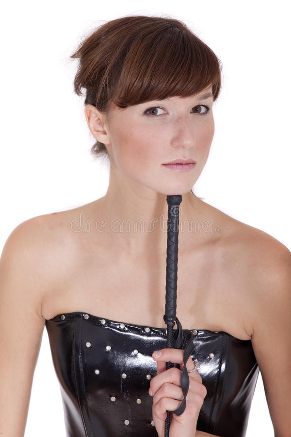 Dominatrix woman with whip stock photos