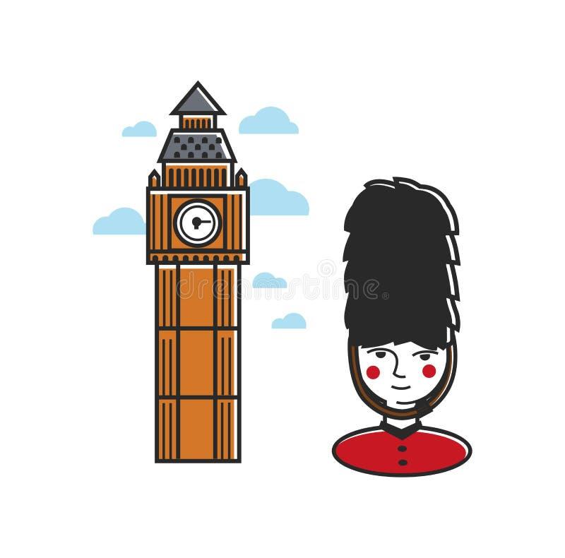 Dominez avec l'horloge et la garde royale dans l'uniforme illustration libre de droits