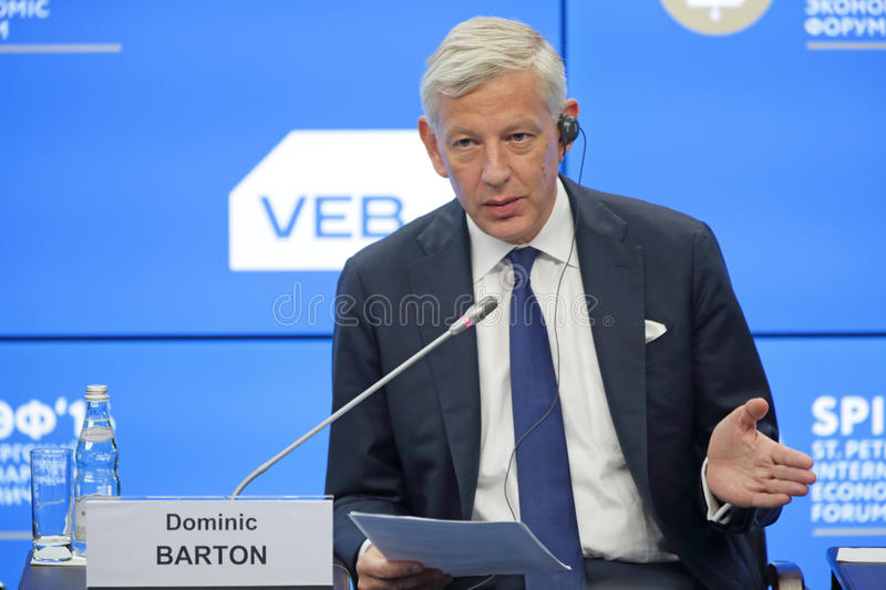 Dominic Barton. SAINT-PETERSBURG, RUSSIA - JUN 17, 2016: St. Petersburg International Economic Forum SPIEF-2016. Dominic Barton, Global Managing Director stock photo