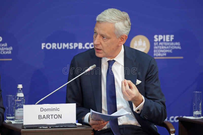Dominic Barton. SAINT-PETERSBURG, RUSSIA - JUN 17, 2016: St. Petersburg International Economic Forum SPIEF-2016. Dominic Barton, Global Managing Director stock photography