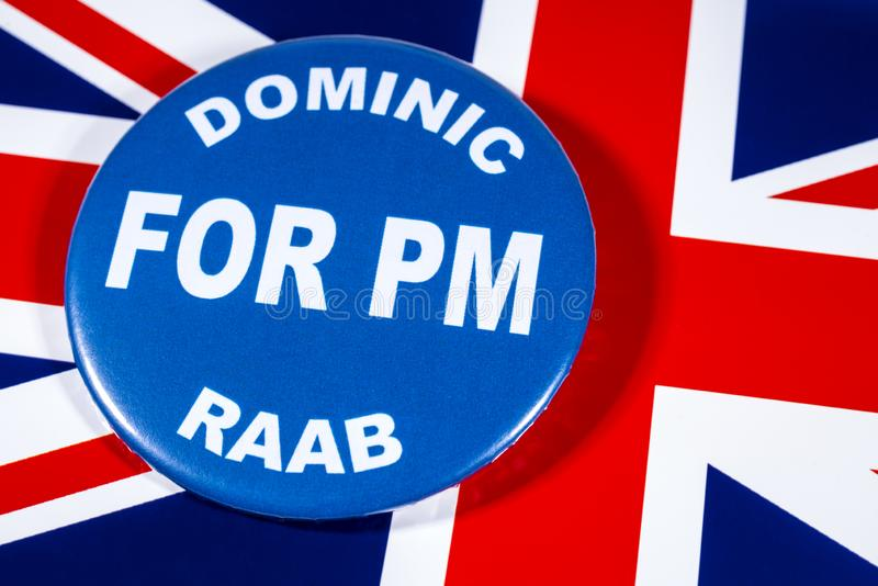 Dominic Raab for Prime Minister. London, UK - May 29th 2019: A badge with Dominic Raab for Prime Minister, pictured over the flag of the United Kingdom.  Dominic royalty free stock image