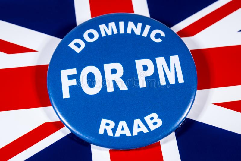 Dominic Raab for Prime Minister. London, UK - May 29th 2019: A badge with Dominic Raab for Prime Minister, pictured over the flag of the United Kingdom.  Dominic stock photos