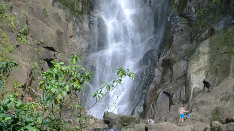 Dominica (Caribbean) - hikers at Trafalgar Fall - Morne Trois Pitons NP stock photo