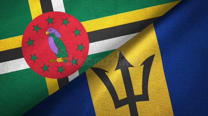 Dominica en Barbados twee vlaggen textieldoek, stoffentextuur royalty-vrije stock afbeeldingen
