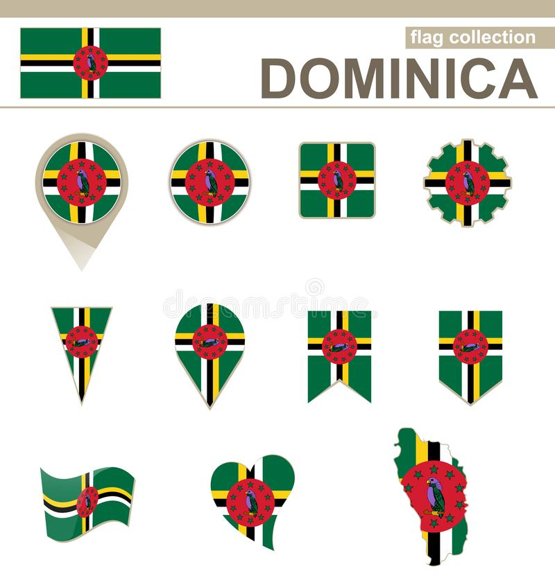 Dominica Flag Collection lizenzfreie abbildung
