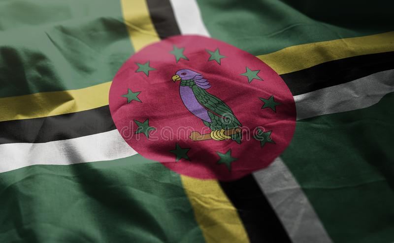 Dominica Flag Rumpled Close Up fotografía de archivo