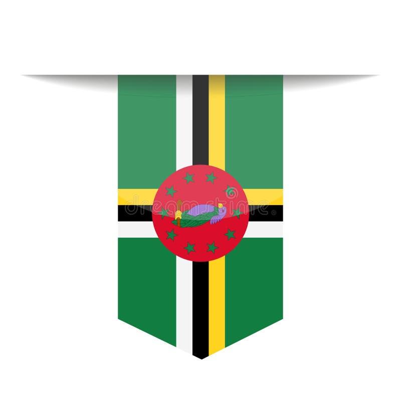 Dominica Flag Vector Bookmark Icon stock de ilustración