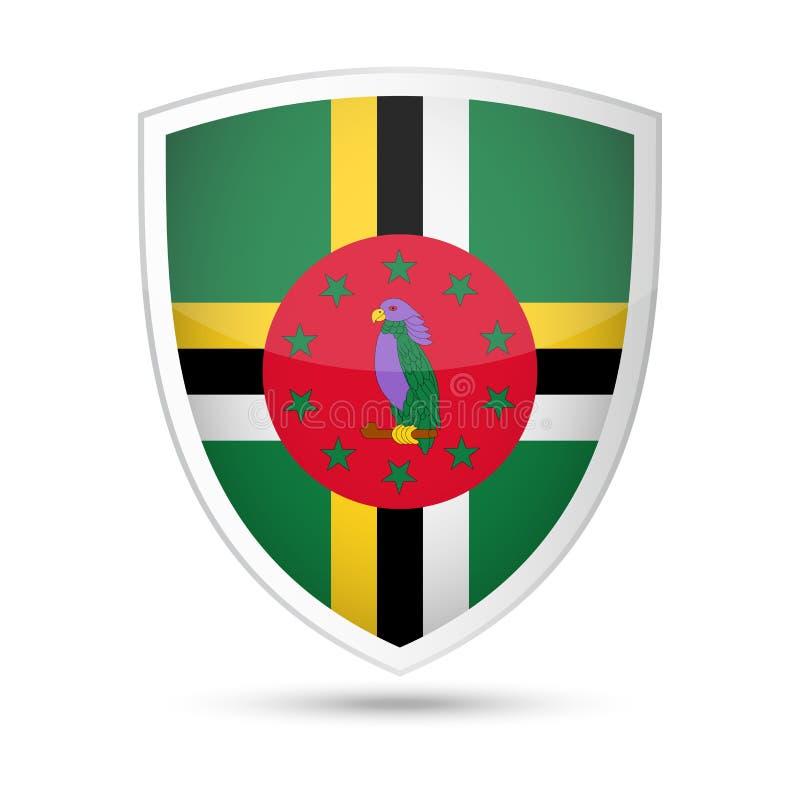 Dominica Flag Vector Shield Icon stock illustration
