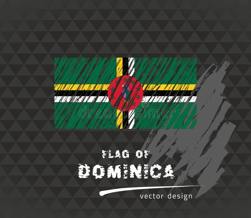 Dominica flag, vector sketch hand drawn illustration on dark grunge background. Vector sketch map of Dominica with flag, hand drawn chalk illustration. Grunge royalty free illustration