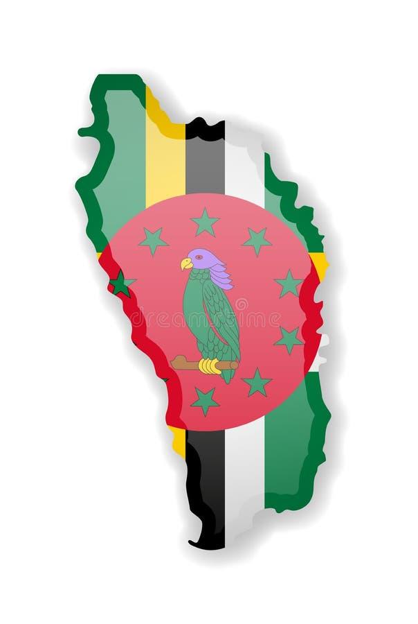 Dominica-Flagge und Kontur des Landes auf einem weißen Hintergrund vektor abbildung