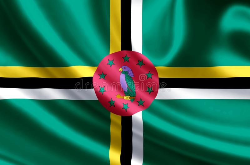 Dominica-Flaggenillustration lizenzfreie abbildung