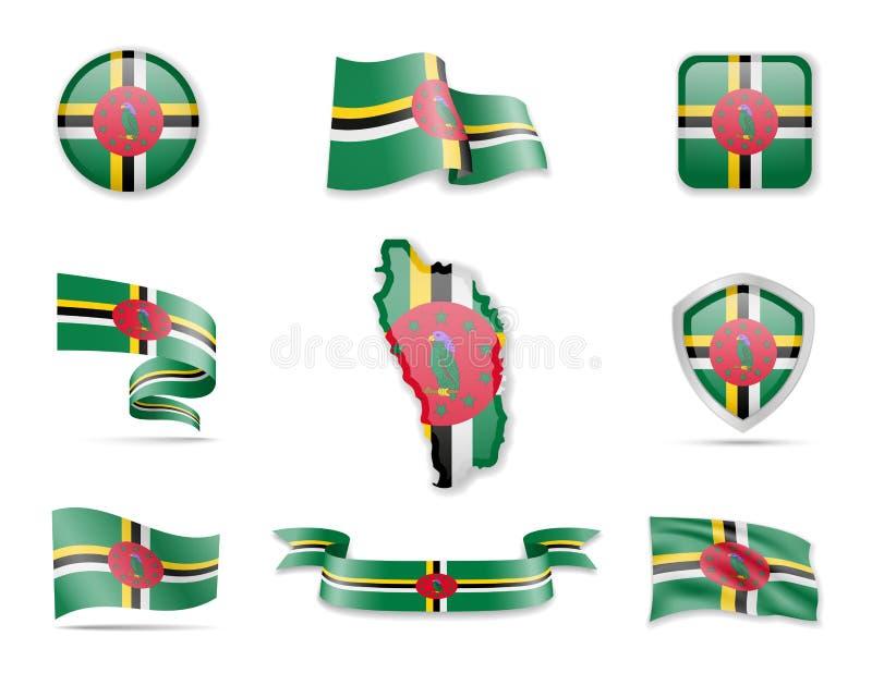 Dominica-Flaggensammlung Vektorillustration stellte Flaggen und Entwurf des Landes ein lizenzfreie abbildung
