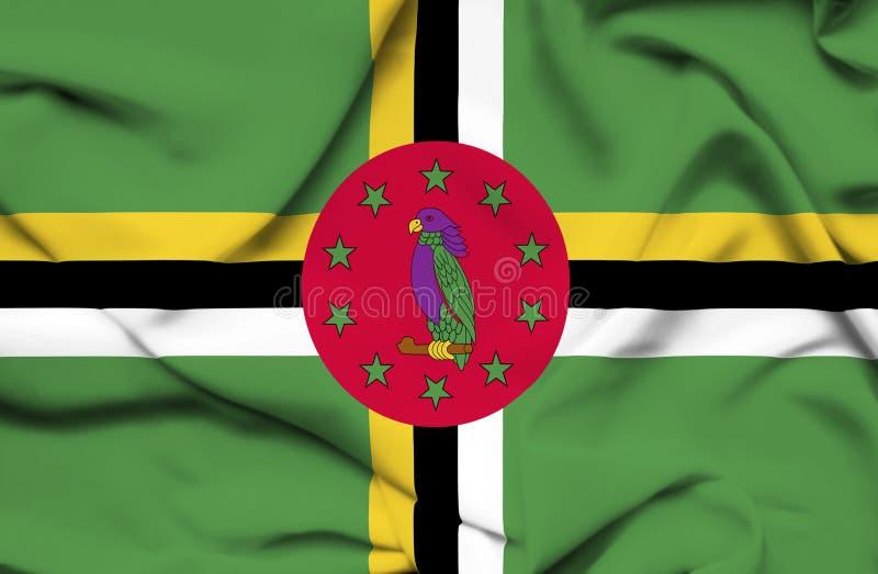 Dominica golvende vlag stock illustratie