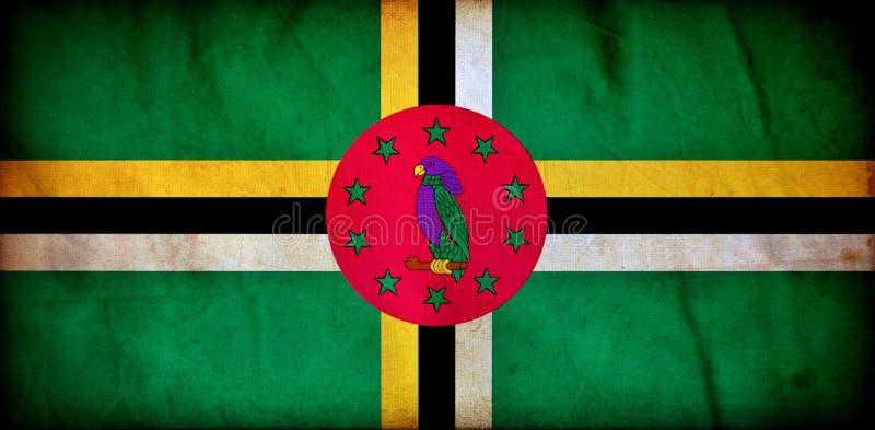 Dominica grunge vlag stock illustratie
