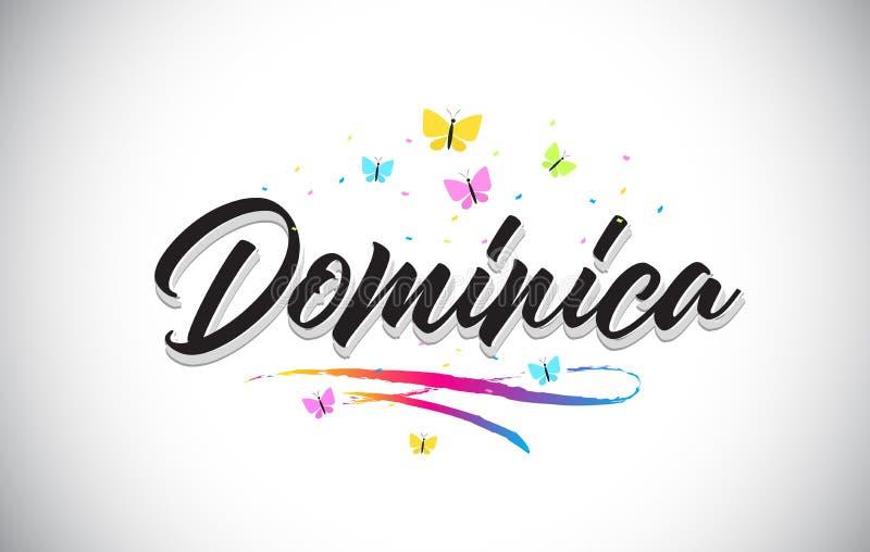 Dominica Handwritten Vector Word Text con le farfalle e variopinto mormorano illustrazione di stock