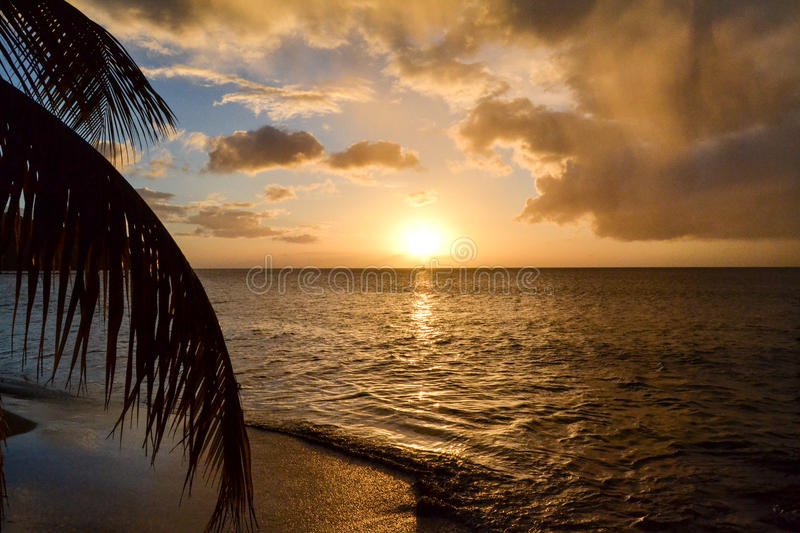 Dominica Island Sunset stock foto's