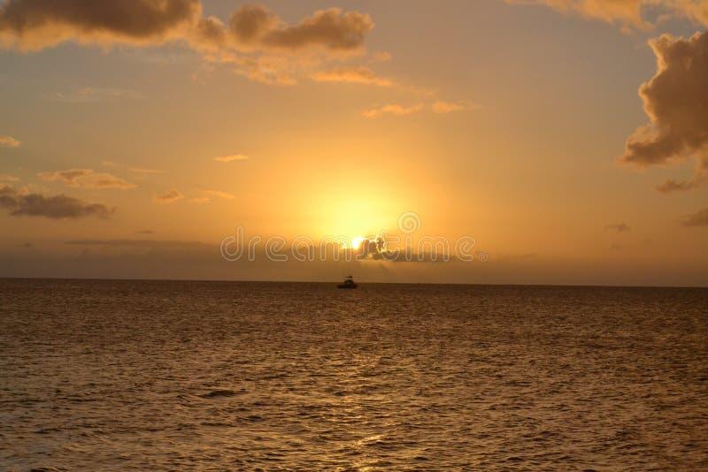 Dominica Island Sunset royalty-vrije stock afbeeldingen