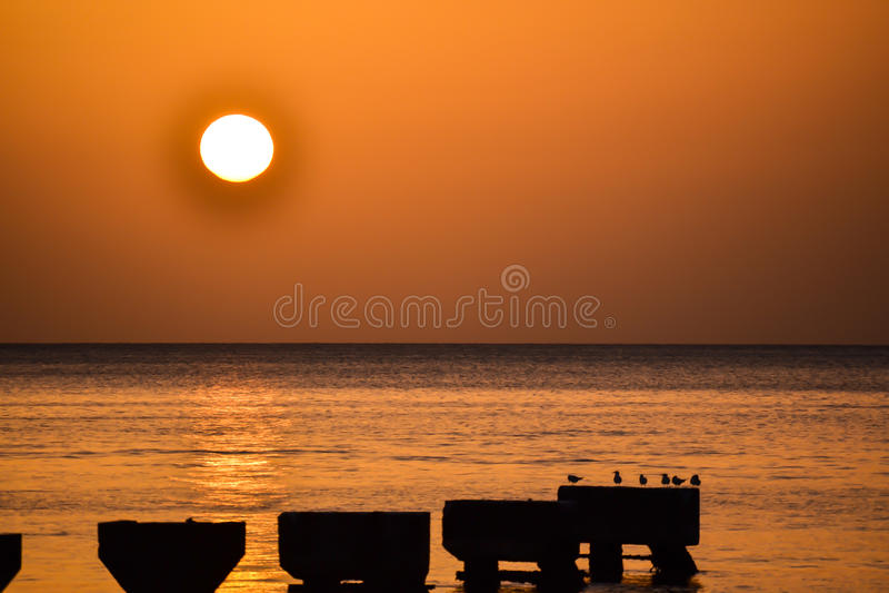 Dominica Island Sunset royalty-vrije stock foto's