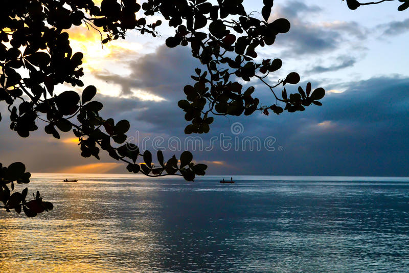 Dominica Island Sunset stock afbeeldingen