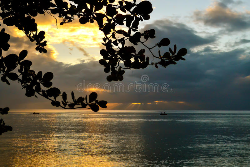 Dominica Island Sunset royalty-vrije stock foto
