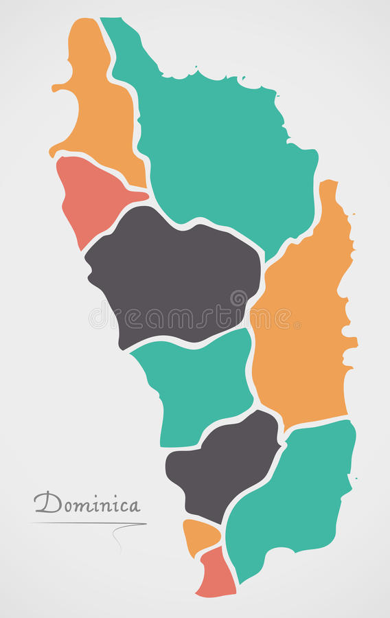 Dominica Map with states and modern round shapes. Illustration vector illustration