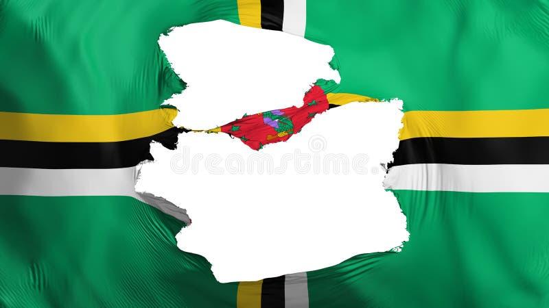 Dominica vlag aan flarden stock illustratie