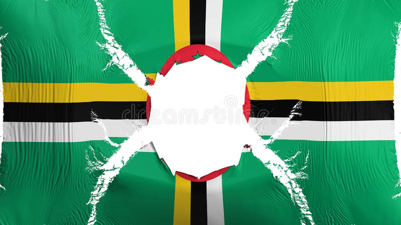 Dominica vlag met een gat stock illustratie