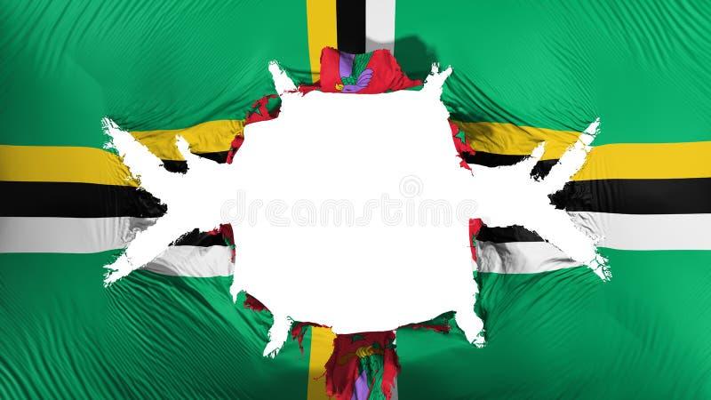 Dominica vlag met een groot gat stock illustratie