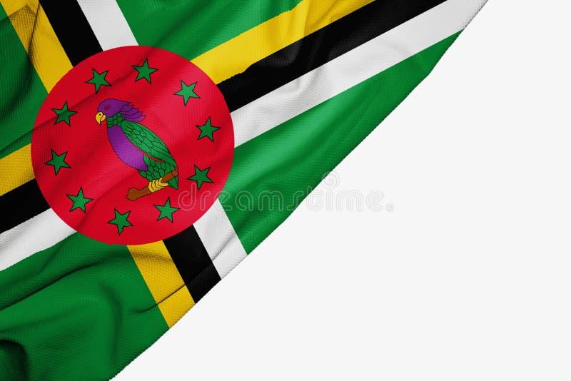 Dominica vlag van stof met copyspace voor uw tekst op witte achtergrond royalty-vrije illustratie