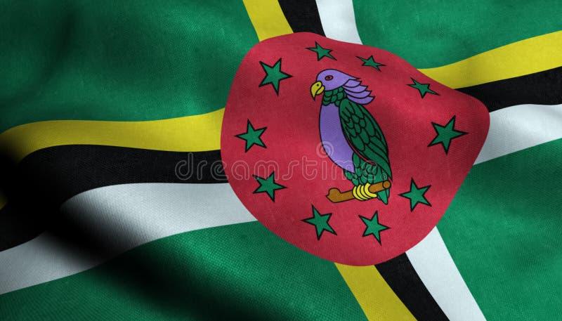 Dominica Waving Flag in 3D royalty-vrije illustratie