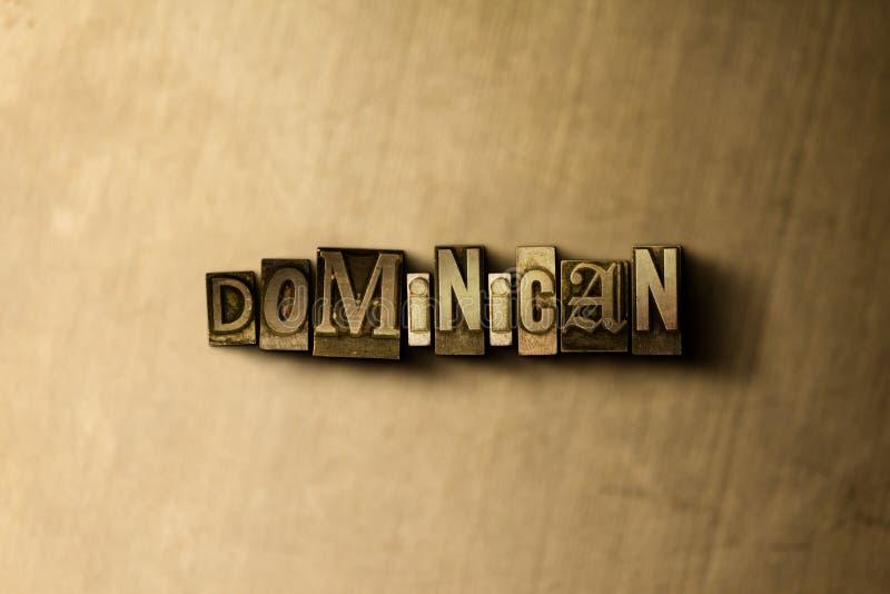 DOMINICAANS - close-up van grungy wijnoogst gezet woord op metaalachtergrond vector illustratie