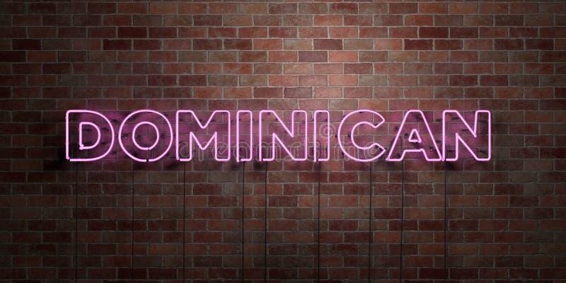 DOMINICAANS - fluorescent T.L.-buisteken op metselwerk - vooraanzicht - 3D teruggegeven royalty vrij voorraadbeeld royalty-vrije illustratie
