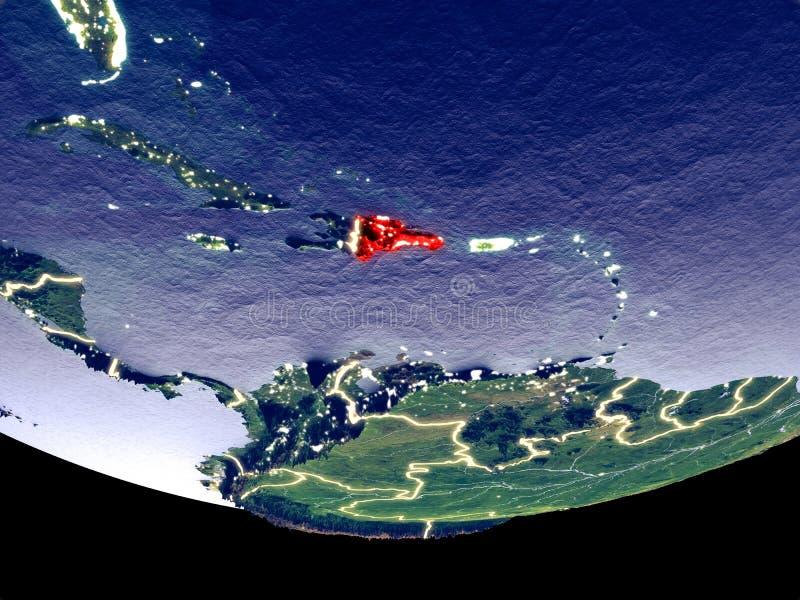 Dominicaanse Republiek bij nacht van ruimte royalty-vrije stock fotografie