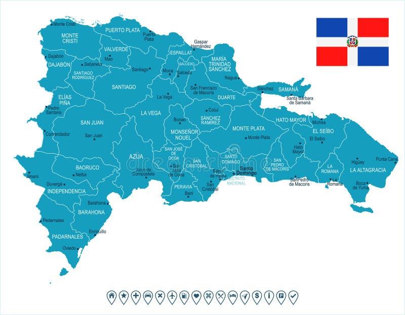Dominicaanse Republiek - kaart en vlag - Gedetailleerde Vectorillustratie vector illustratie