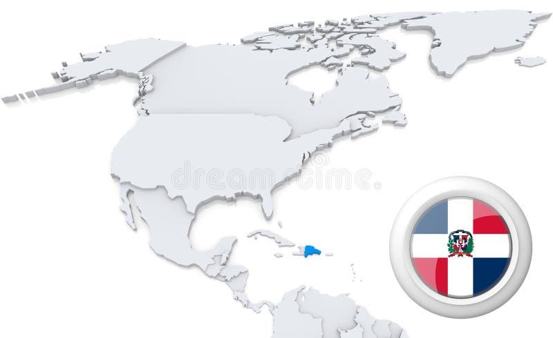 Dominicaanse republiek op een kaart van Noord-Amerika vector illustratie