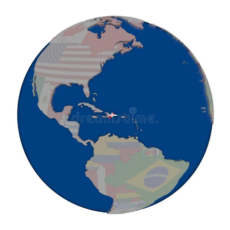 Dominicaanse Republiek op politieke bol stock illustratie