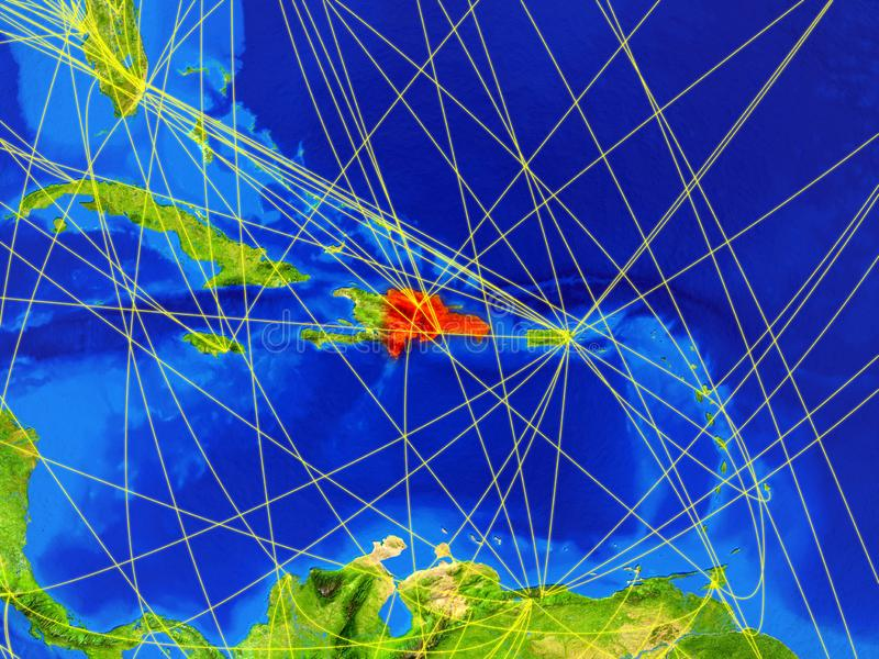 Dominicaanse Republiek ter wereld met netwerk stock afbeeldingen