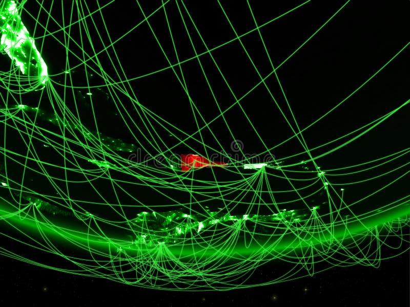 Dominicaanse Republiek van ruimte met netwerk stock afbeelding