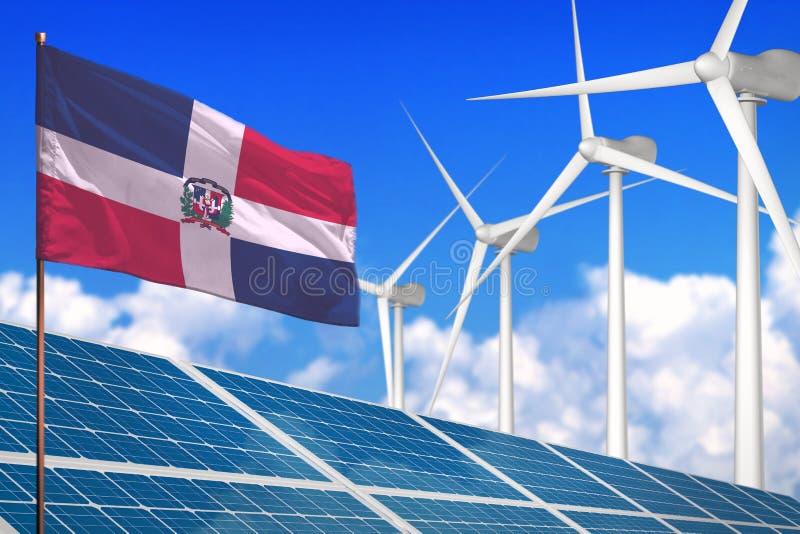 Dominicaanse Republiek zonne en windenergie, duurzame energieconcept met zonnepanelen - duurzame energie tegen het globale verwar vector illustratie