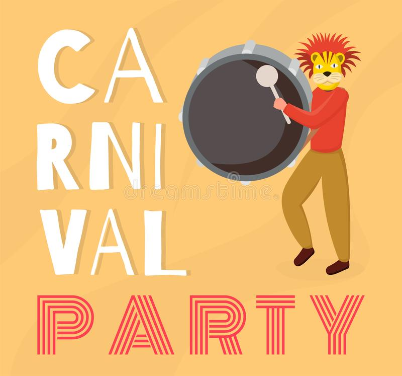 Dominican carnival party banner vector template. Latino drummer, musician in animal mask playing drum cartoon character vector illustration
