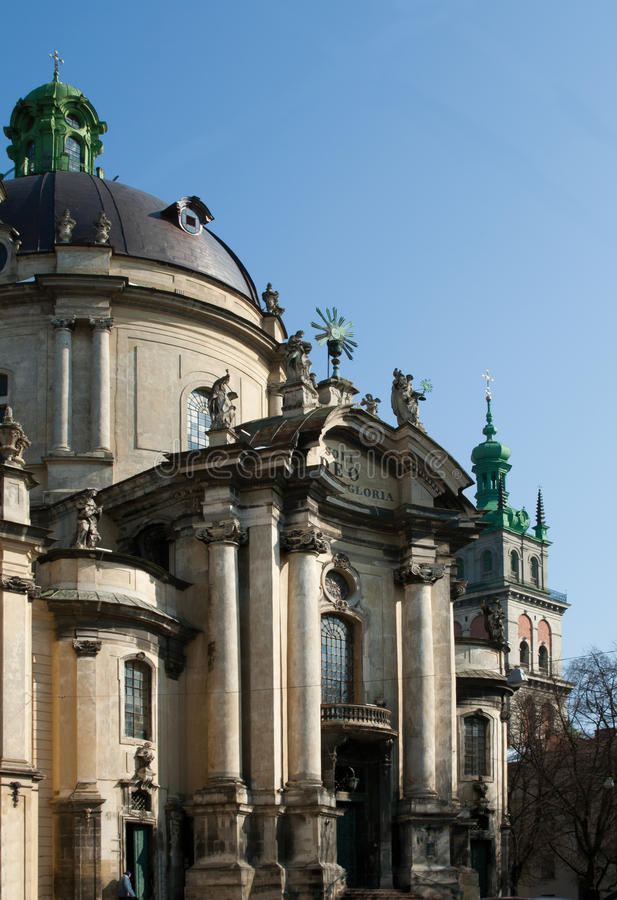 Dominican cathedral in Lviv stock photography