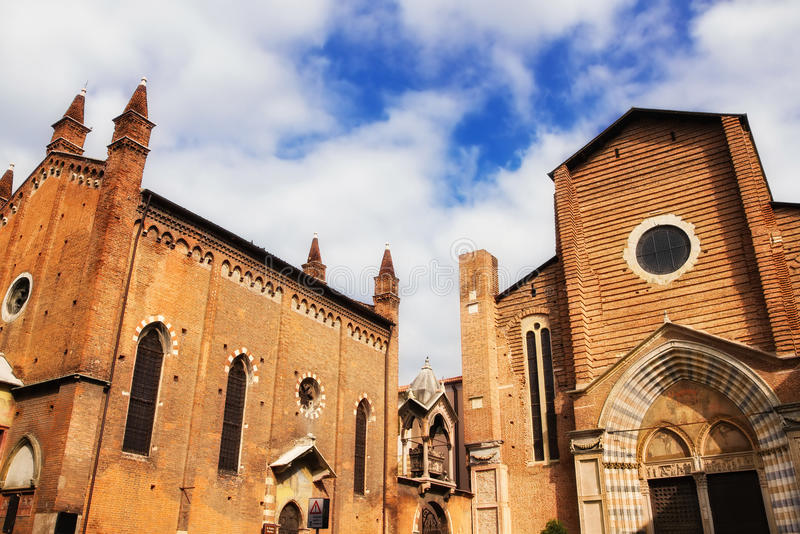 Dominican church of Sant'Anastasia in Verona stock photography