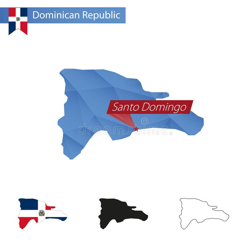 Dominican Republic blue Low Poly map with capital Santo Domingo stock illustration