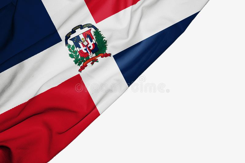 Dominican Republic flag of fabric with copyspace for your text on white background. Banner best blue capital caribbean colorful competition country dominicana royalty free illustration