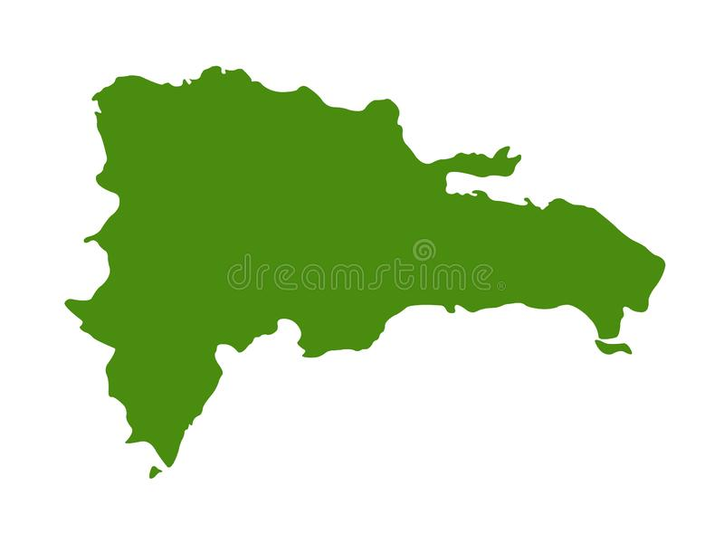 Dominican Republic map - island country in the Greater Antilles archipelago of the Caribbean region. Vector file of Dominican Republic map - country located in stock illustration